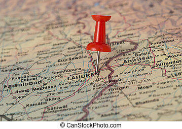 Lahore Marked With Red Pushpin on Map - Lahore marked with...