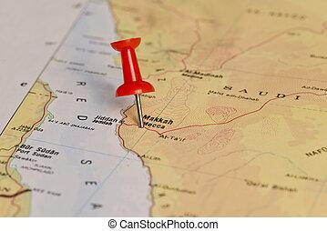 Makkah Mecca Marked With Red Pushpin on Map - Makkah (Mecca)...