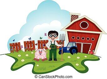 Stock Farmer with pig on farm