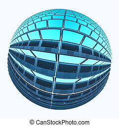 Spherical laptops 4 with cyan screens