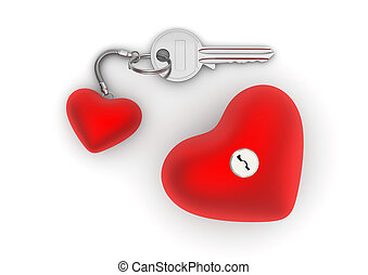 Key to my heart with heart trinket and lock - Love,...