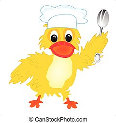 Cartoon of the duck of the cook - Duckling cook with spoon...