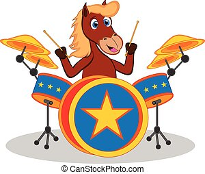 Horse playing drum cartoon