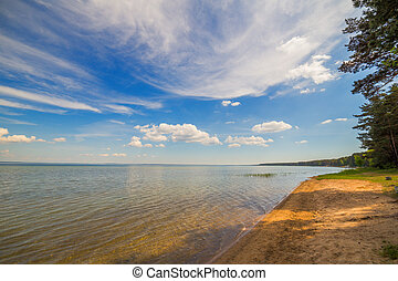 Lake shore water landscape summer day sky