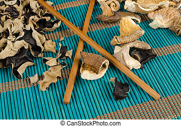Assorted muhrooms - Assortment of dehydrated fungi, oyster...