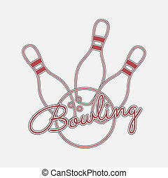 Bowling red Neon Logo. Wire Emblem with Ball, Pins and Text