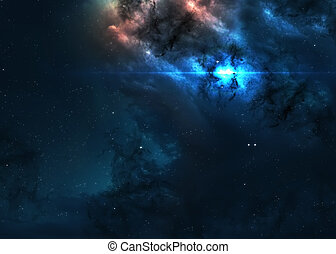 Star field in deep space many light years far from the...