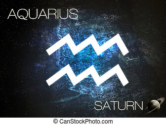 Zodiac sign - Aquarius. Elements of this image furnished by...