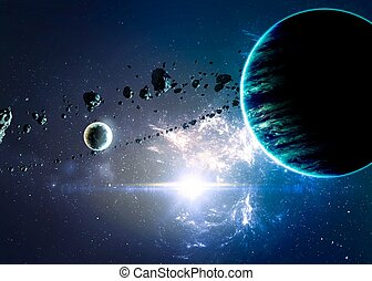 Planets over the nebulae in space. Elements of this image...