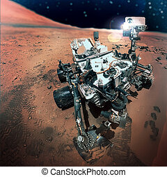 The Mars rover image on Mars. Elements of this image...