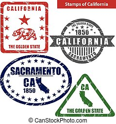 Stamps of California, USA - Vector stamps of California...