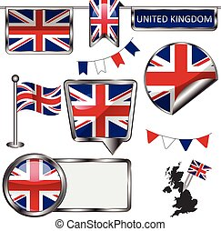 Glossy icons with flag of United Kingdom - Vector glossy...