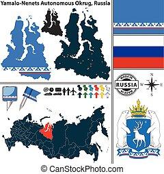 Yamalo-Nenets Autonomous Okrug, Russia - Vector map of...