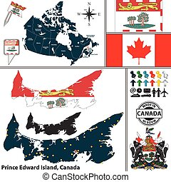 Map of Prince Edward Island, Canada - Vector map of state...