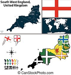 South West England, United Kingdom - Vector map of South...