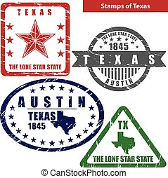 Stamps of Texas, USA - Vector stamps of Texas state in...