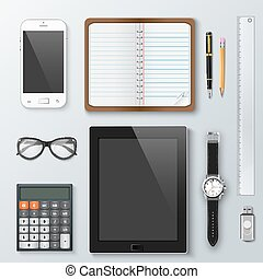 Workplace office and business work elements set.