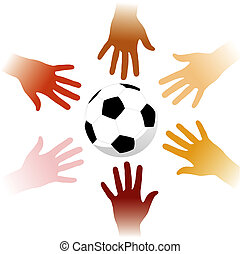 Hands around a soccer ball