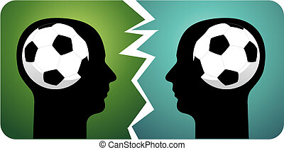Soccer brains - composition with two heads faced with soccer...