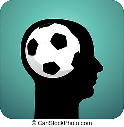 Soccer ball brains - Human head silhouette with soccer ball...