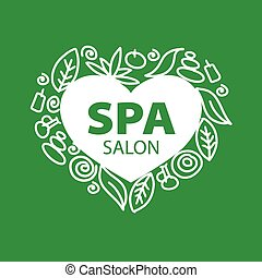 Abstract vector logo for Spa salon in the form of heart