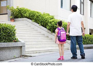 Gehen, Vater, Schule, Kinder