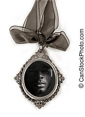 Camafeu, prata, locket, africano, macho, Retrato