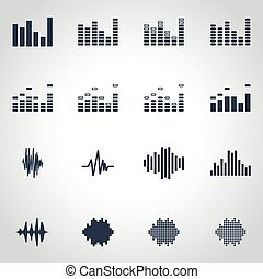 Vector black music soundwave icon set on grey background