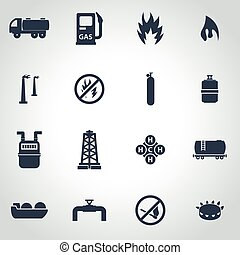 Vector black natural gas icon set on grey background