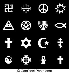 Vector white religious symbols set on black background