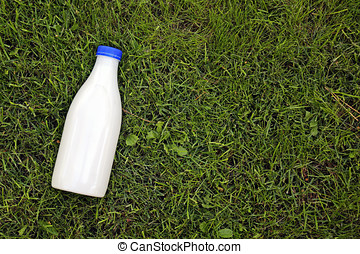 top view of milk bottle on the grass with copy space