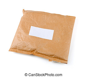 small paper post parcel with blank label