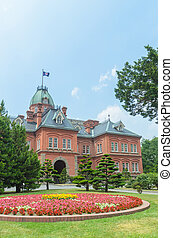 Former hokkaido government office and colorful flower garden in summer