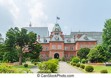 Former hokkaido government office and green tree garden in summer