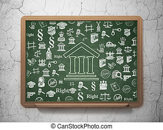 Law concept: Courthouse on School Board background - Law...