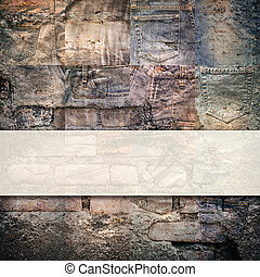 Collage set of jeans rotten background - Collage set of...