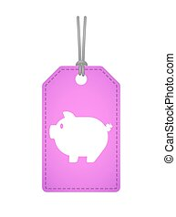 Isolated label icon with a pig