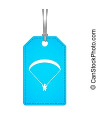 Isolated label icon with a paraglider