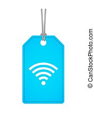 Isolated label icon with a radio signal sign