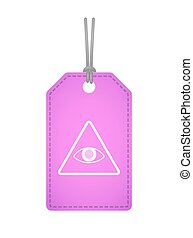 Isolated label icon with an all seeing eye - Illustration of...