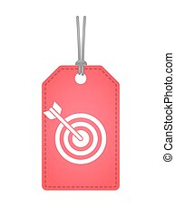 Isolated label icon with a dart board - Illustration of an...