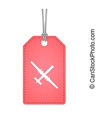 Isolated label icon with a war drone - Illustration of an...