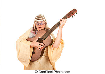 Crazy New Age Woman with Guitar - Crazy New Age Woman with...