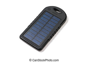 Portable solar charger for smart phone Power bank isolated...