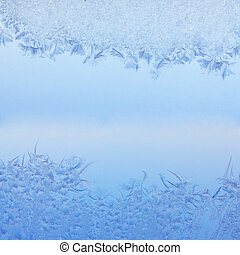Frosty pattern on winter window. Beautiful Macro photo