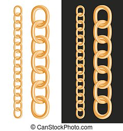 Golden Chain om White and Black Background. Vector