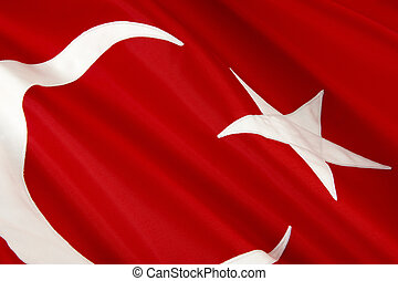 Macro shot of Turkish flag - Extreme close up of wavy...