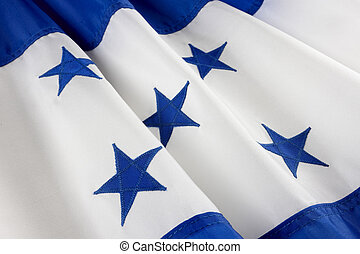 Macro shot of Honduran flag - Extreme close up of wavy...