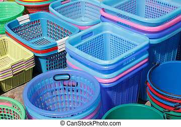 group basket colorful background in market for sale