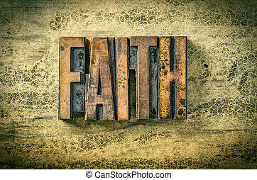 Antique letterpress wood type printing blocks - Faith